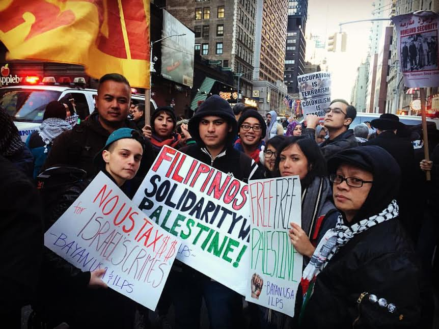 BAYAN USA North East mobilizing in the streets of New York in solidarity with Palestinian protesters